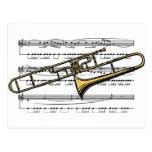Musical 14 B del Trombone Tarjetas Postales