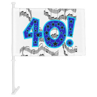 Musical 40th Birthday Car Flag