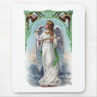 Musical Angel and Bells Vintage Xmas Mouse Pad
