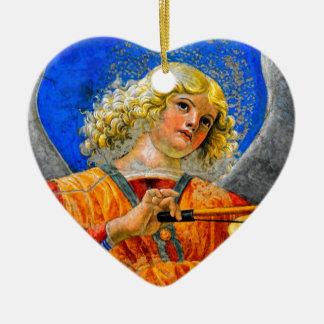 Musical Angel Basking in the light of Heaven 2 Ceramic Ornament
