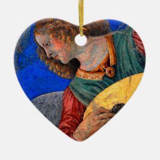Musical Angel Basking in the Light of Heaven 3 Ceramic Ornament