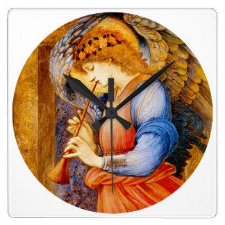 Musical Angel by Burne Jones Square Clock ~
