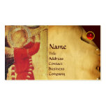 MUSICAL ANGEL IN RED AND GOLD BUSINESS CARDS