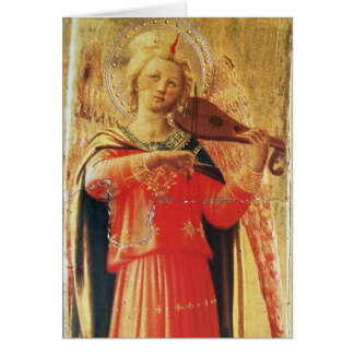 MUSICAL ANGEL IN RED AND GOLD CARD
