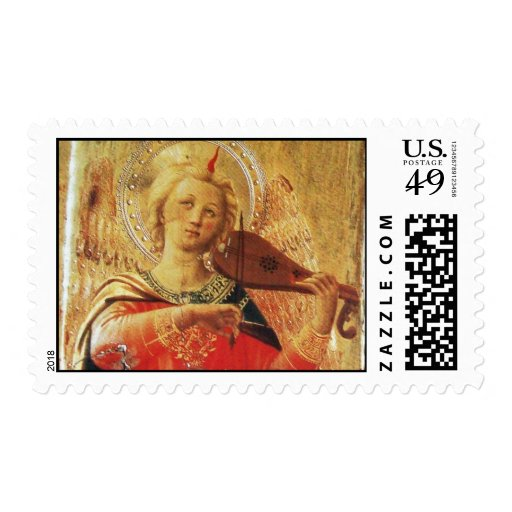 MUSICAL ANGEL IN RED AND GOLD POSTAGE STAMPS
