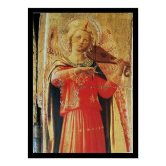 MUSICAL ANGEL IN RED AND GOLD POSTER
