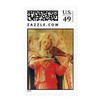 MUSICAL ANGEL IN RED AND GOLD STAMP