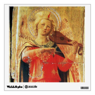 MUSICAL ANGEL IN RED AND GOLD WALL DECAL