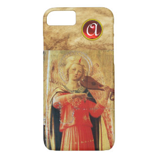 MUSICAL ANGEL PLAYING VIOLIN IN RED,GOLD MONOGRAM iPhone 8/7 CASE
