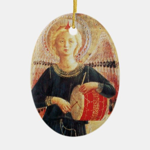 MUSICAL ANGEL  Ruby Gem stone Double-Sided Oval Ceramic Christmas Ornament