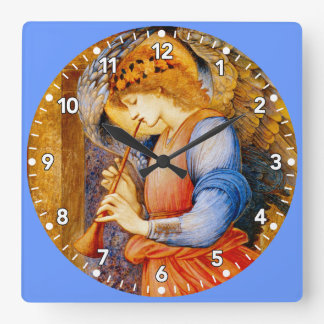 Musical Angel Square Wall Clock - Burne Jones Art