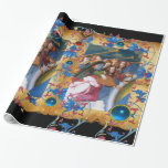MUSICAL ANGELS PARCHMENT,RED BLUE FLOWERS,GEMS GIFT WRAP