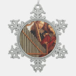 MUSICAL ANGELS SNOWFLAKE PEWTER CHRISTMAS ORNAMENT
