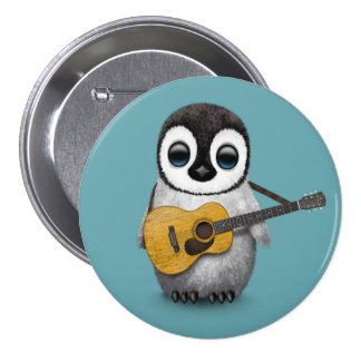 Musical Baby Penguin Playing Guitar Blue Pinback Button