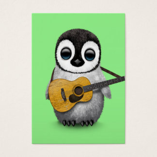 Musical Baby Penguin Playing Guitar Green Business Card