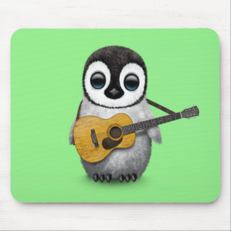 Musical Baby Penguin Playing Guitar Green Mouse Pad