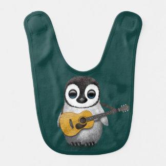 Musical Baby Penguin Playing Guitar Teal Baby Bib