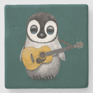 Musical Baby Penguin Playing Guitar Teal Blue Stone Coaster