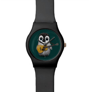 Musical Baby Penguin Playing Guitar Teal Wrist Watches