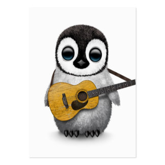 Musical Baby Penguin Playing Guitar White Large Business Card