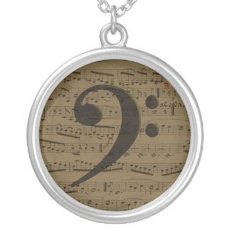 Musical Bass Clef sheet music Silver Plated Necklace