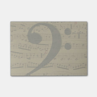 Musical Bass Clef sheet music Post-it® Notes