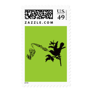 Musical Bird Change Colors Postage Stamp