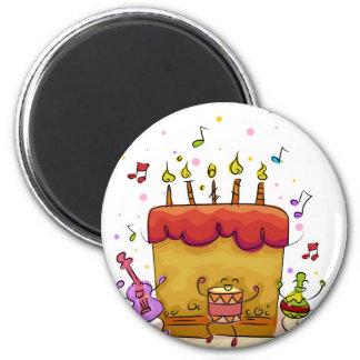 Musical Birthday Cake 2 Inch Round Magnet