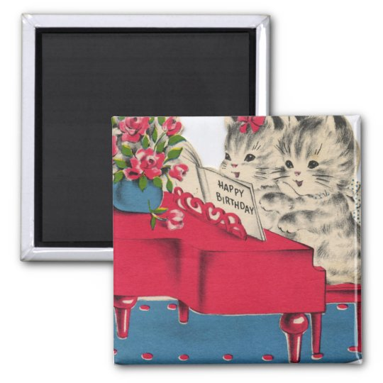 Musical Birthday Kittens 2 Inch Square Magnet