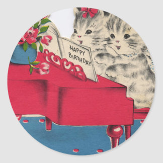 Musical Birthday Kittens Classic Round Sticker