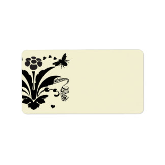 Musical Bumble Bee Damask Address Labels