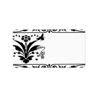 Musical Bumble Bee Damask Borders Shipping Label