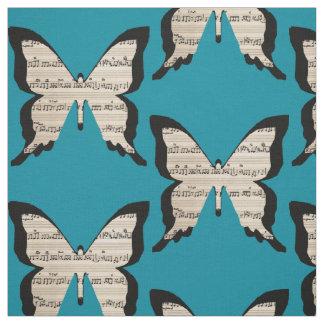 Musical butterflies - sheet music butterfly fabric