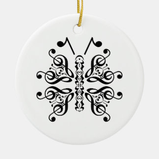 Musical Butterfly Music Note Scroll Design Double-Sided Ceramic Round Christmas Ornament