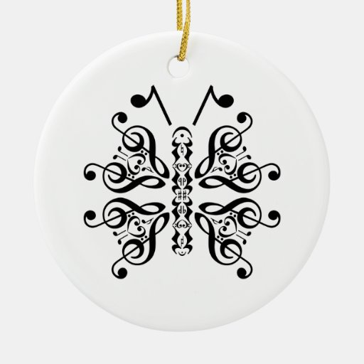 Musical Butterfly Music Note Scroll Design Ornament