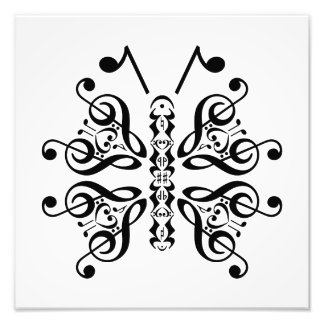 Musical Butterfly Music Note Scroll Design Photo Print