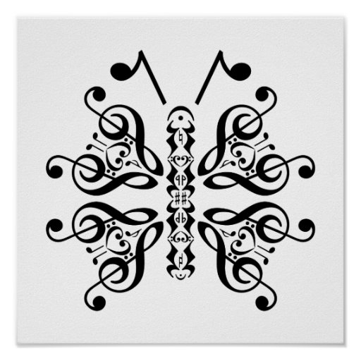 Musical Butterfly Music Note Scroll Design Poster