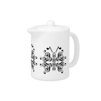Musical Butterfly Music Note Scroll Design Teapot