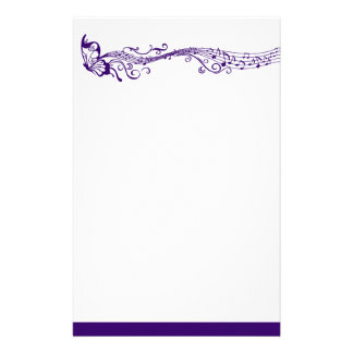 Musical butterfly purple stationery