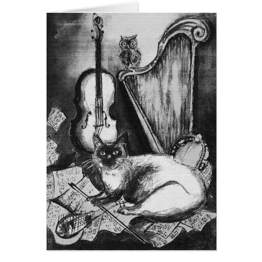 MUSICAL CAT AND OWL  ,Black and White Greeting Cards