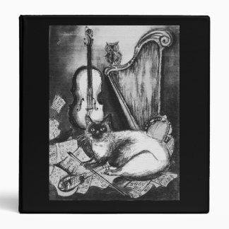 MUSICAL CAT AND OWL  Black White Grey Binder