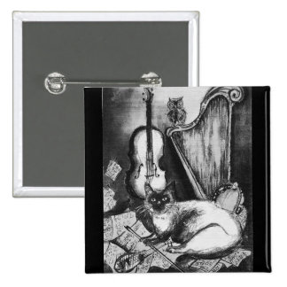 MUSICAL CAT AND OWL  Black White Grey 2 Inch Square Button