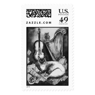 MUSICAL CAT AND OWL  Black White Grey Postage