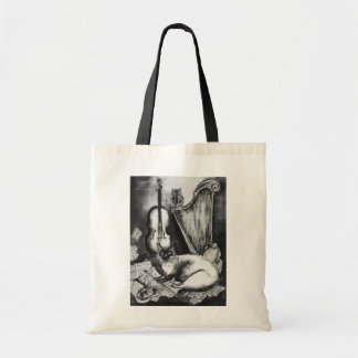 MUSICAL CAT AND OWL  Black White Grey Tote Bag