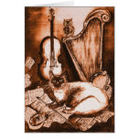 MUSICAL CAT AND OWL ,Brown and White Greeting Cards