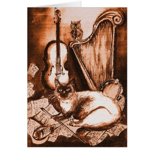 MUSICAL CAT AND OWL ,Brown and White Card