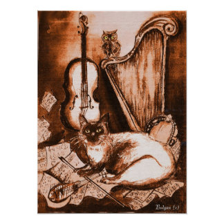 MUSICAL CAT AND OWL Brown and White Poster