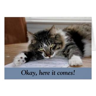 Musical Cat Big Hug Card