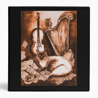 MUSICAL CAT ,Brown and White, Black 3 Ring Binder