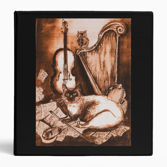 MUSICAL CAT ,Brown and White, Black 3 Ring Binder